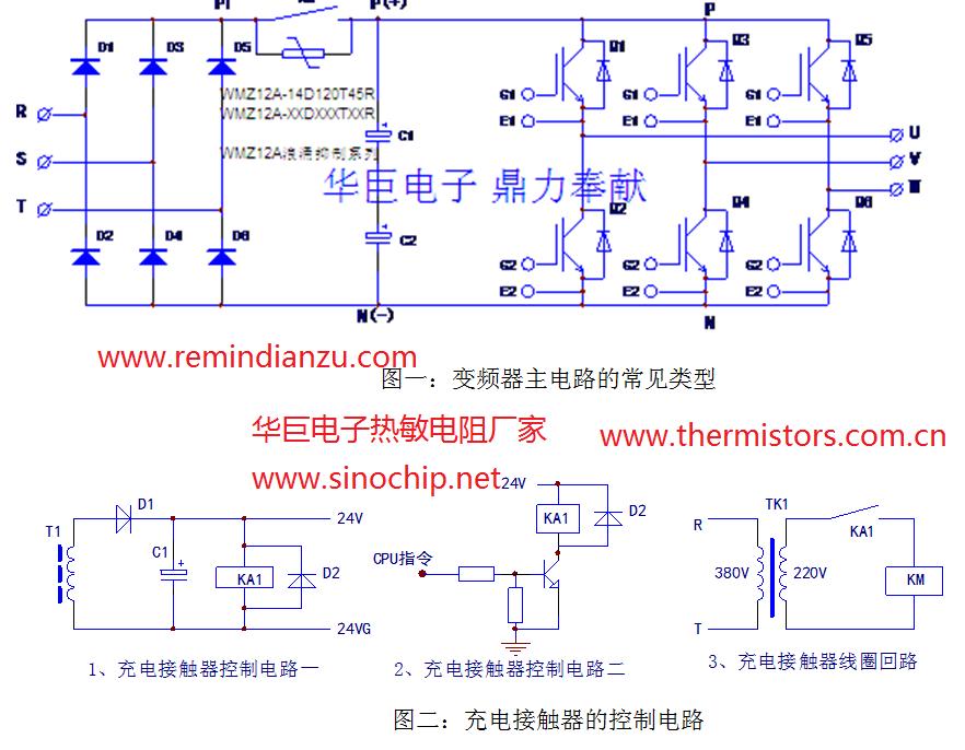 """1.充电电阻   中小功率通用变频器一般为电压型变频器,采用交—直—交工作方式。当变频器刚上电时,由于直流侧的滤波电容容量非常大,在刚充电的瞬间对电流相当于短路,电流会很大。如果在整流桥与电解电容之间不加充电电阻,则相当于380V电源直接对地短路,瞬间整流桥通过无穷大的电流导致整流桥炸掉。加上充电电阻限流后,要是不并继电器或其他元件,充电电阻消耗功率也很大。例如对于22kW的变频器,在PN端(直流母线)上至少有45A的电流。如果""""接控制电路""""部分出问题(比如"""