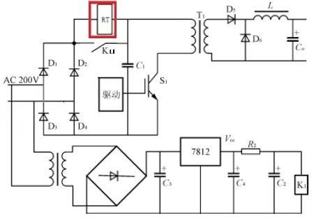 逆变电源滤波电容上电浪涌抑制自恢复热敏电阻
